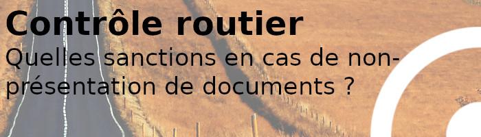 sanctions contrôle routier